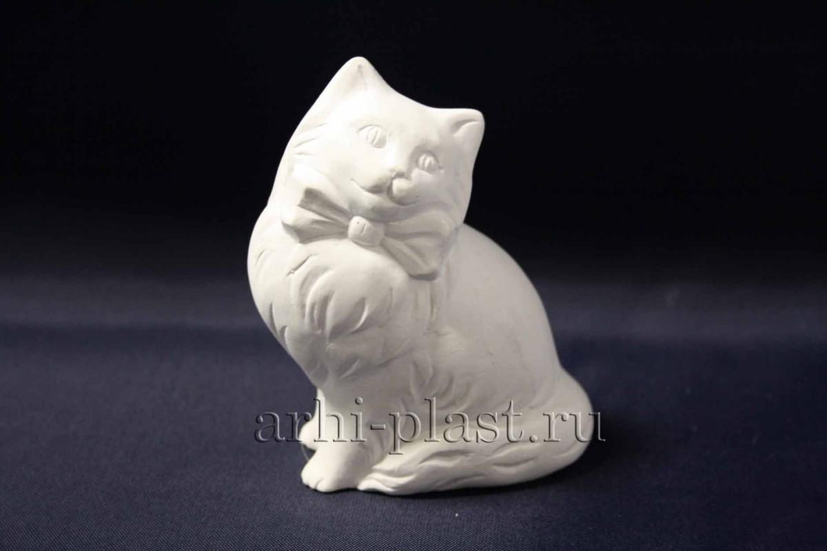 Фигурка из гипса кошка с бантом